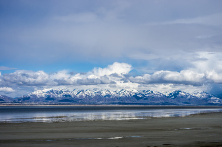 wasatch: This view of the Wasatch Mountains is from the east shore of Antelope Island. Stock Photo