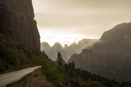 zion: Fog in Zion Canyon Stock Photo