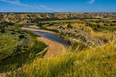 theodore roosevelt: A view of the Little Missouri River Valley in Theodore Roosevelt National Park, North Dakota.