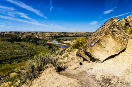 A view of the Little Missouri River Valley in Theodore Roosevelt National Park, North Dakota. photo