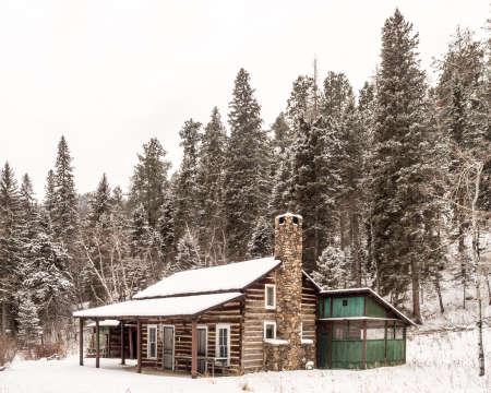 A cabin in the woods in Custer State Park in South Dakota.