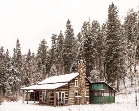 ponderosa pine winter: A cabin in the woods in Custer State Park in South Dakota.