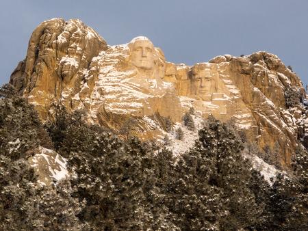 ponderosa pine winter: Mount Rushmore National Memorial in winter in the Black Hills of South Dakota.
