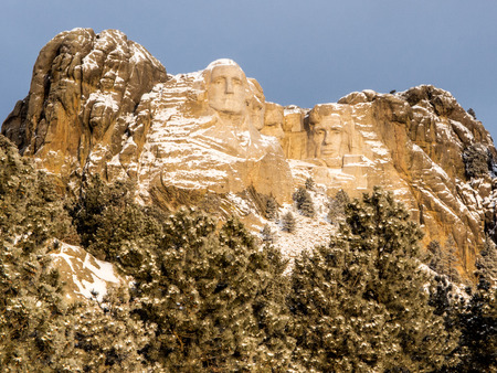 theodore roosevelt: Mount Rushmore National Memorial in winter in the Black Hills of South Dakota.