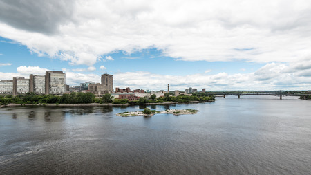 Riverfront and Alexandra Bridge in Gatineau, Quebec, Canada