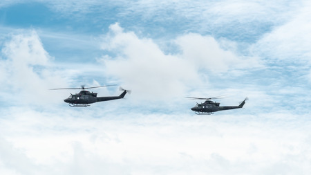 Helicopters of the Canadian Army fly at The Citedel in Quebec Stok Fotoğraf