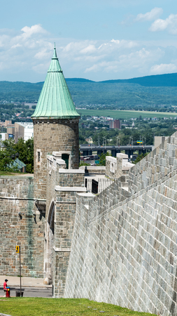 crenelation: Tower of St. John Gate in Quebec City, Quebec, Canada