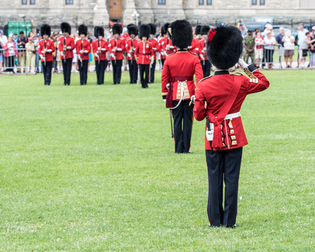 Soldiers in the Changing of the Guard Ceremony on Parliament Hill in Ottawa, Ontario, Canada