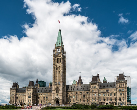 Parliament Building of Canada on Parliament Hill in Ottawa, Ontario, Canada Stock Photo