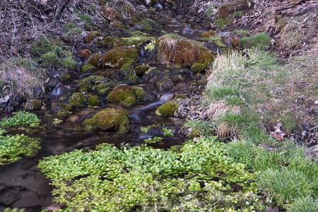 Water from a Spring Falls over Rocks Reklamní fotografie