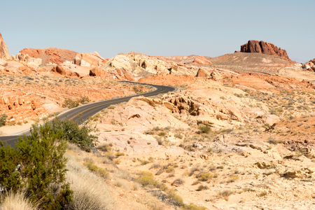 Road WInds through Valley of Fire State Park in Nevada