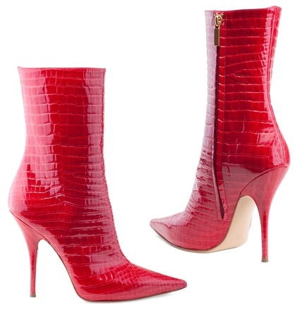 Ladies, red  boots  on a white background.