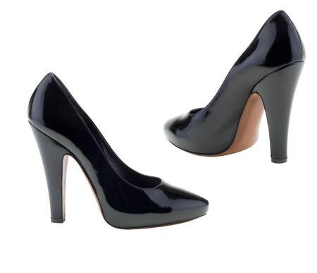 mujer negra desnuda: Zapatos de mujer sobre un fondo blanco.