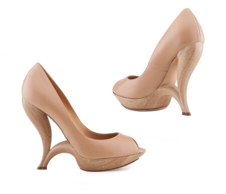 Stylish womens shoes on a white background.