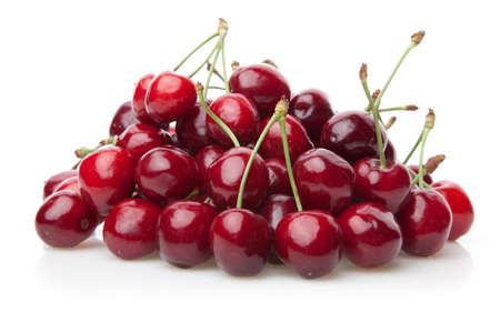 Fresh cherries isolated on white background.