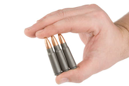 Bullets in hands on a white background.