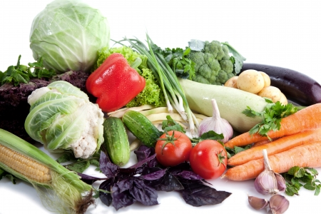 A lot of fresh, different vegetables on white  Stock Photo