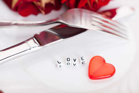 Setting for valentines day  Romantic table  Flower photo