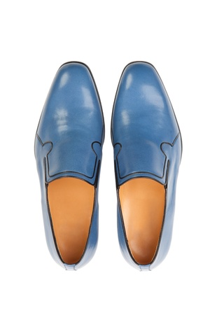 Stylish, summer mens leather shoes on white. Isolated. Stock Photo