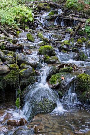 steine im wasser: Bergbach zwischen Steinen. Spritzwasser. Stones.