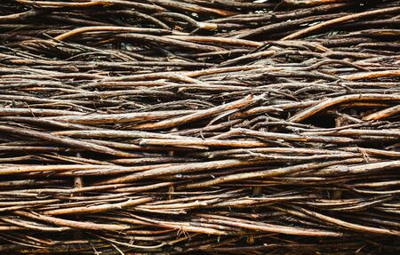 Traditional wattle fence of willow branches. Stock Photo