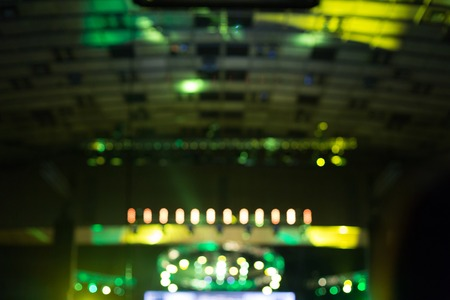 lighting equipment: Blurred lighting equipment at concert stage. Colored beams. Stock Photo