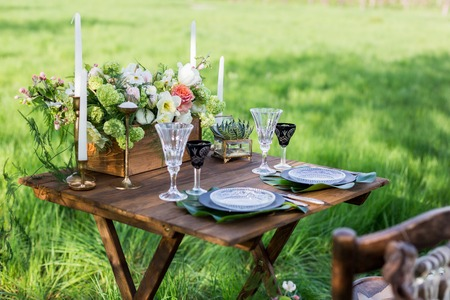 Wedding decor. Table for the newlyweds outdoor.  Wedding reception. Stock Photo