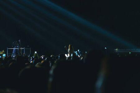 Girl shoots a rock concert on a smartphone.