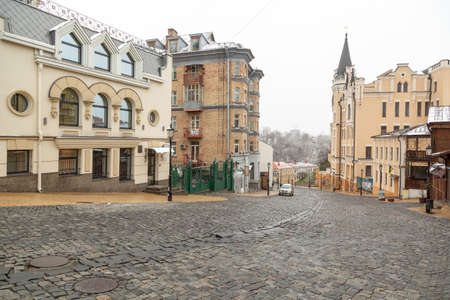 Kyiv, Ukraine - March, 22, 2020: St. Andrew's descent - old town. A popular place of the city without people. Quarantine during COVID-19. Editorial