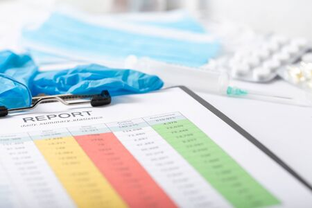 Report on the number of patients on the doctors table. Medical gloves, medicines and syringes.