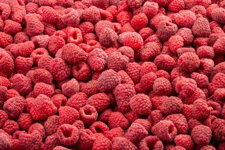 Frozen fresh raspberry. Food background. Top view.