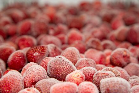 Frozen fresh strawberry. Food background of berries. Imagens - 148108207