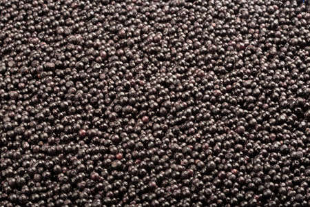 Frozen fresh elderberry. Food background of berries. Frame filled with elderberry. Top view. Concept: Food products for long-term storage.