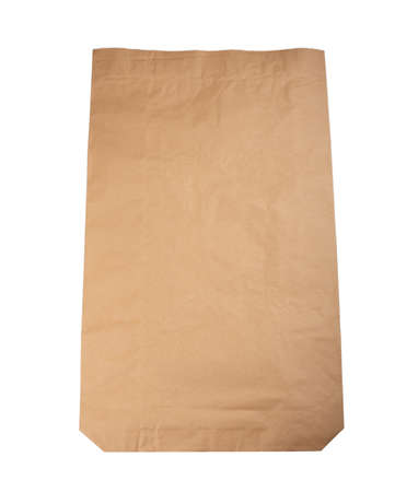 Paper bag for storage and transportation of various products on an isolated white background. Imagens