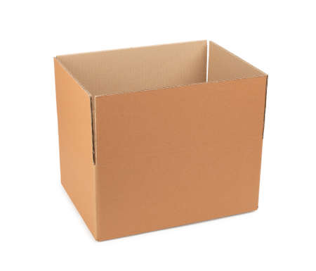 Cardboard box for storing goods and parcels by mail on a white isolated background.