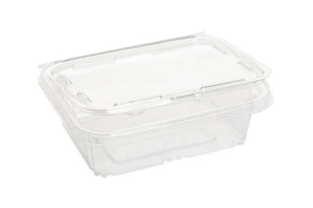 Disposable plastic transparent lunch box on white background.