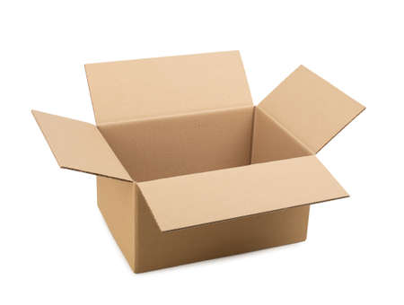 Opened cardboard box on a white isolated background.