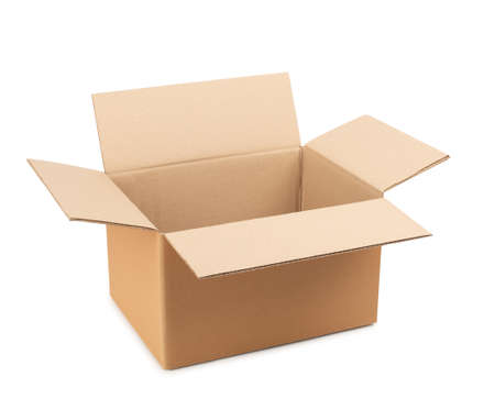 Opened cardboard box for storing goods and parcels by mail on a white isolated background. Imagens
