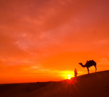 Rajasthan desert with dramatic sky with camel and man 版權商用圖片