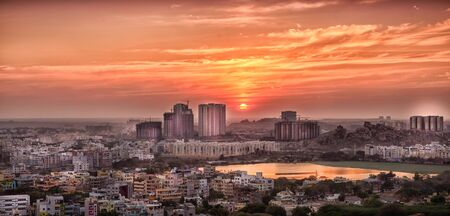 hyderabad: View of development of Hyderabad city Stock Photo