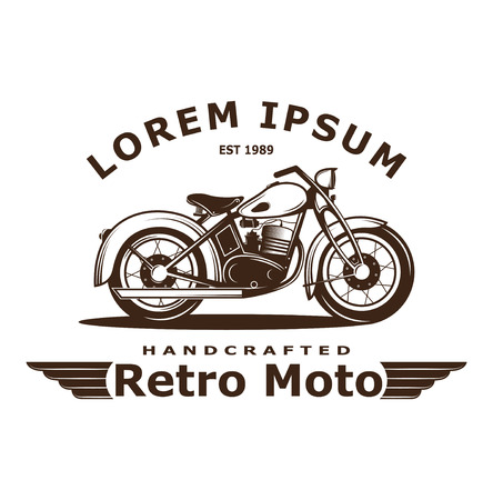 Illustrazione di moto d'epoca, stampa di poster. Questa illustrazione può essere utilizzata come una stampa su magliette e borse. club motociclistico d'epoca. Icona di Moto Classics retrò Vettoriali