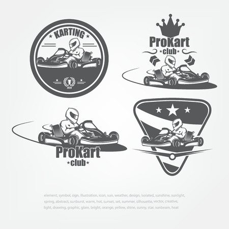 Set in kart emblems. Vector illustration. The racer in a helmet. Sport Club Фото со стока - 88487920