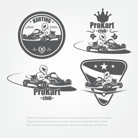 Set in kart emblems. Vector illustration. The racer in a helmet. Sport Club Illustration