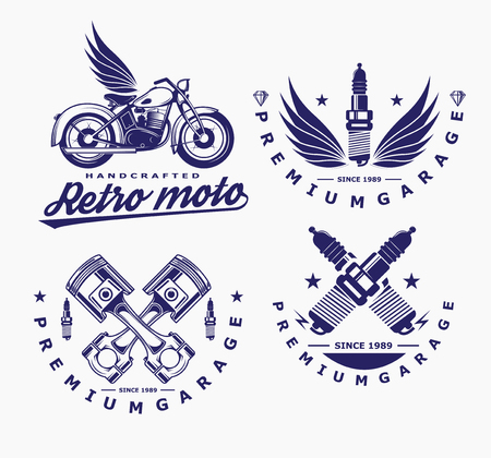 motorcycle vector, glow plug icon, transport logo. Illustration