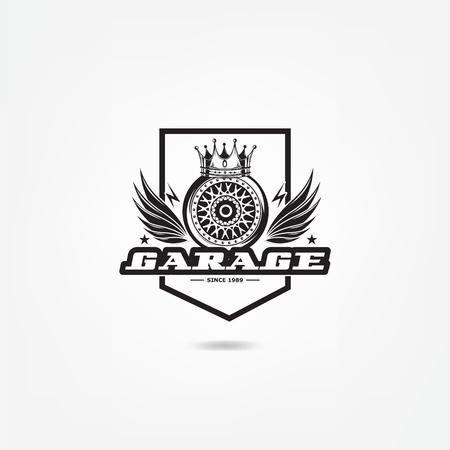 Transport logo, vector illustration. Wheel chrome disk of car, design of auto tuning, styling. Disc Logo