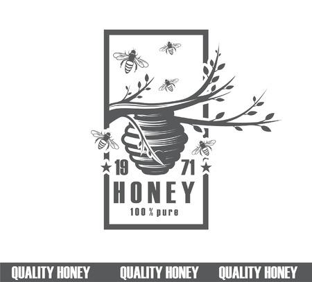 Gestaltung von Honigetiketten. Qualitätshonig-Ikone, Firmenkonzepthersteller des reinen Honigs Standard-Bild - 96202950