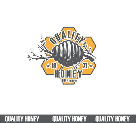 Design of honey labels. quality honey icon, company concept manufacturer of pure honey