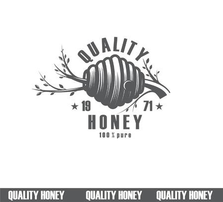 Gestaltung von Honigetiketten. Qualitätshonig-Ikone, Firmenkonzepthersteller des reinen Honigs Standard-Bild - 96235745