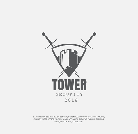 castle tower in the middle of the shield, behind the shield two crossed swords vector illustration, the concept of the sports team
