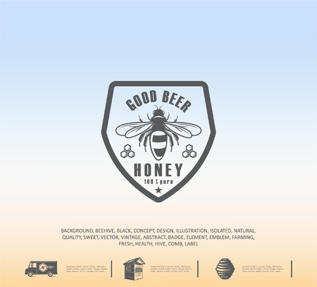 Design of honey labels. badge of honey quality, emblem of the company. Packing icon, background printing